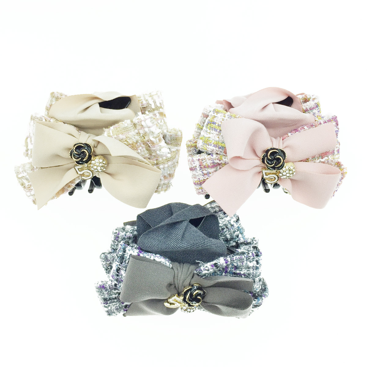 韓國 小香風 蝴蝶結 編織 5 花 水鑽 三色 髮飾 髮夾 鯊魚夾
