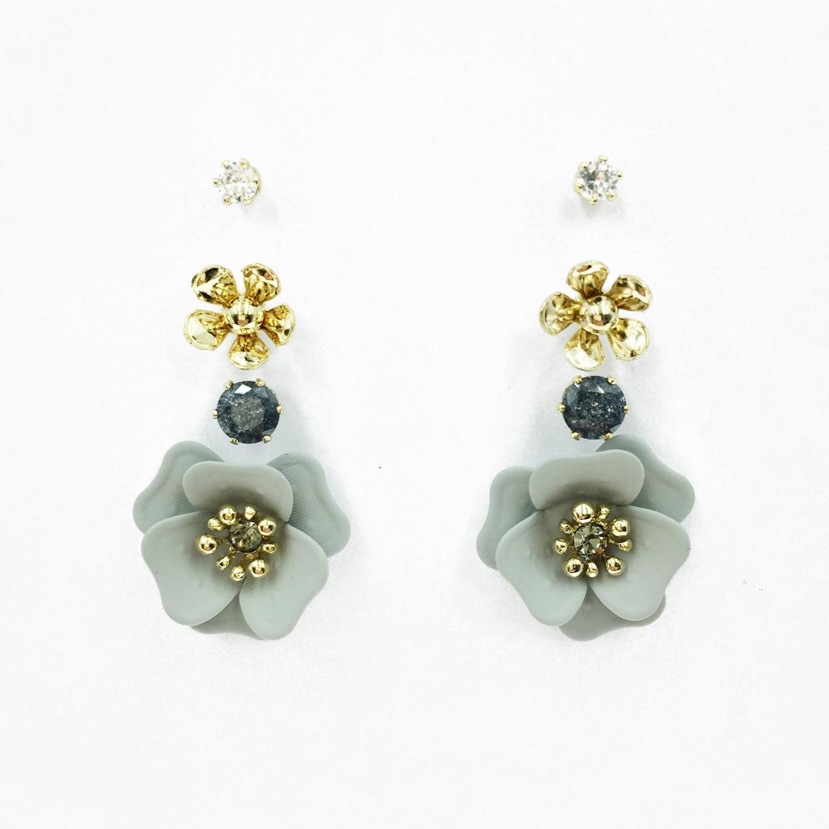韓國 花朵 小金珠 爪鑽 水鑽 多入組 耳針式耳環