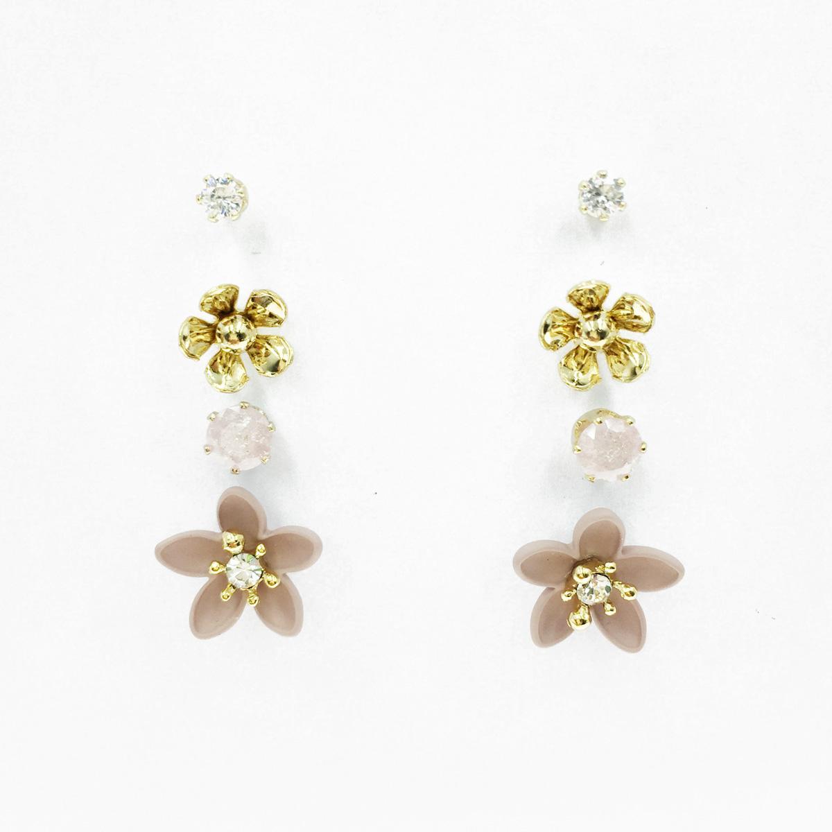 韓國 花朵 水鑽 爪鑽 多入組 耳針式耳環