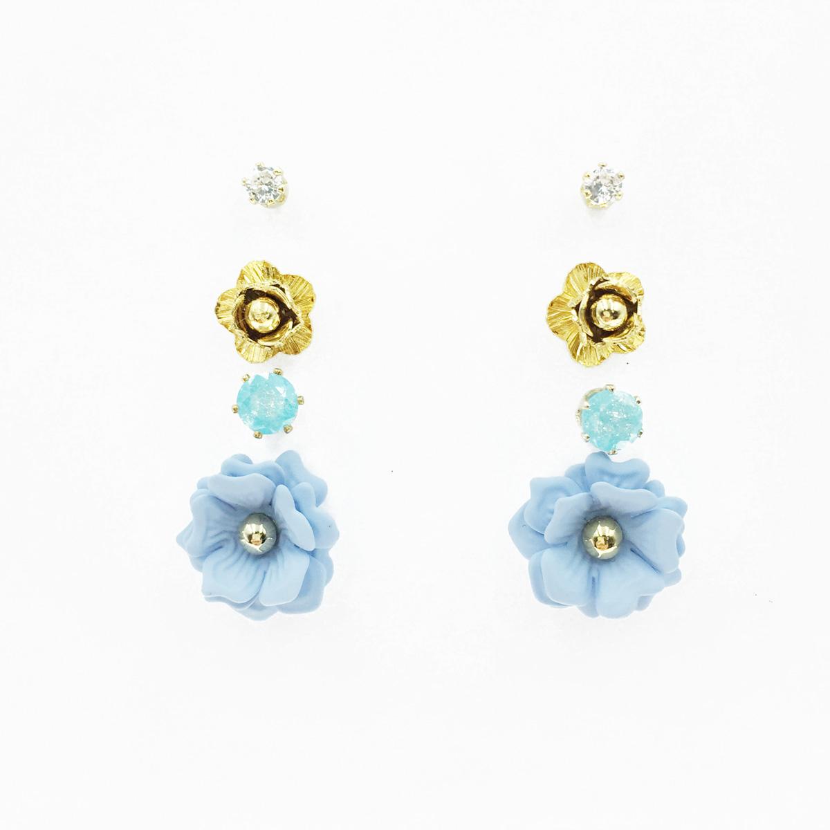 韓國 花朵 藍花 水鑽 爪鑽 多入組 耳針式耳環