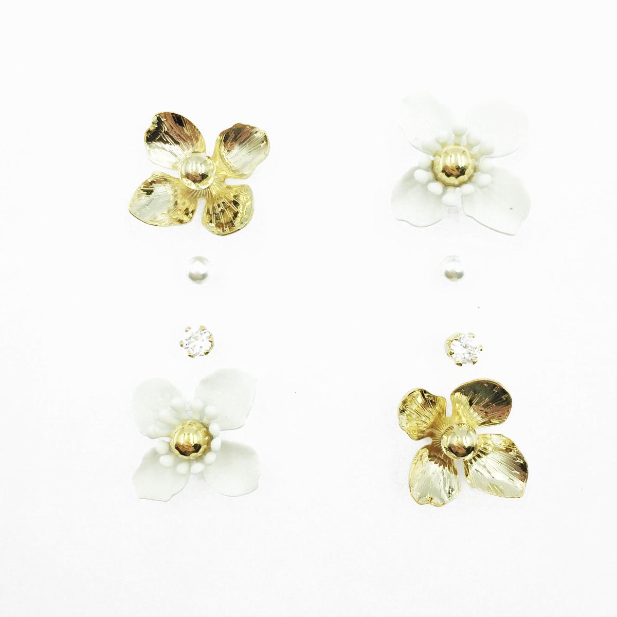 韓國 白花 金花朵 小金珠 珍珠 水鑽 多入組 耳針式耳環