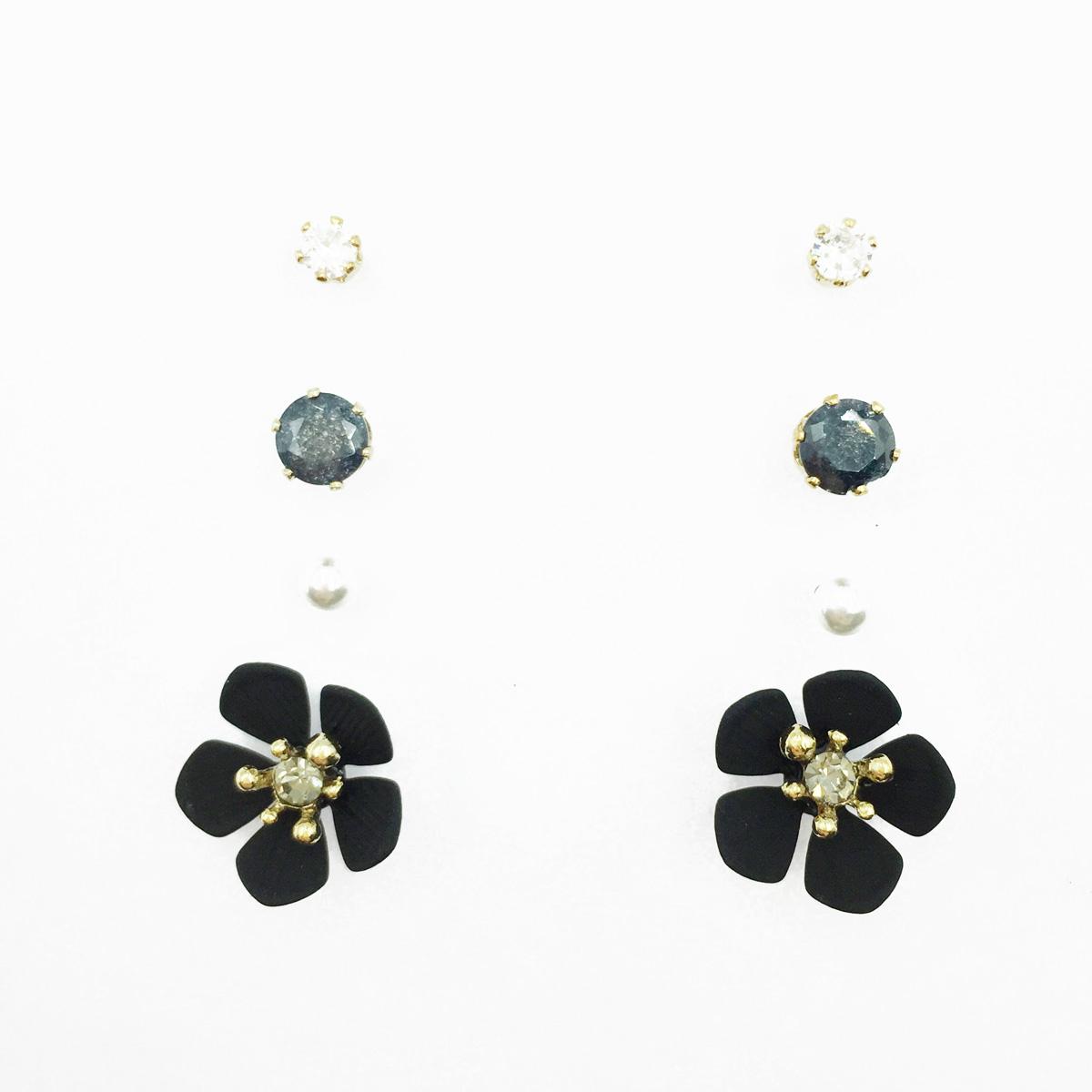 韓國 黑花朵 珍珠 水鑽 多入組 耳針式耳環