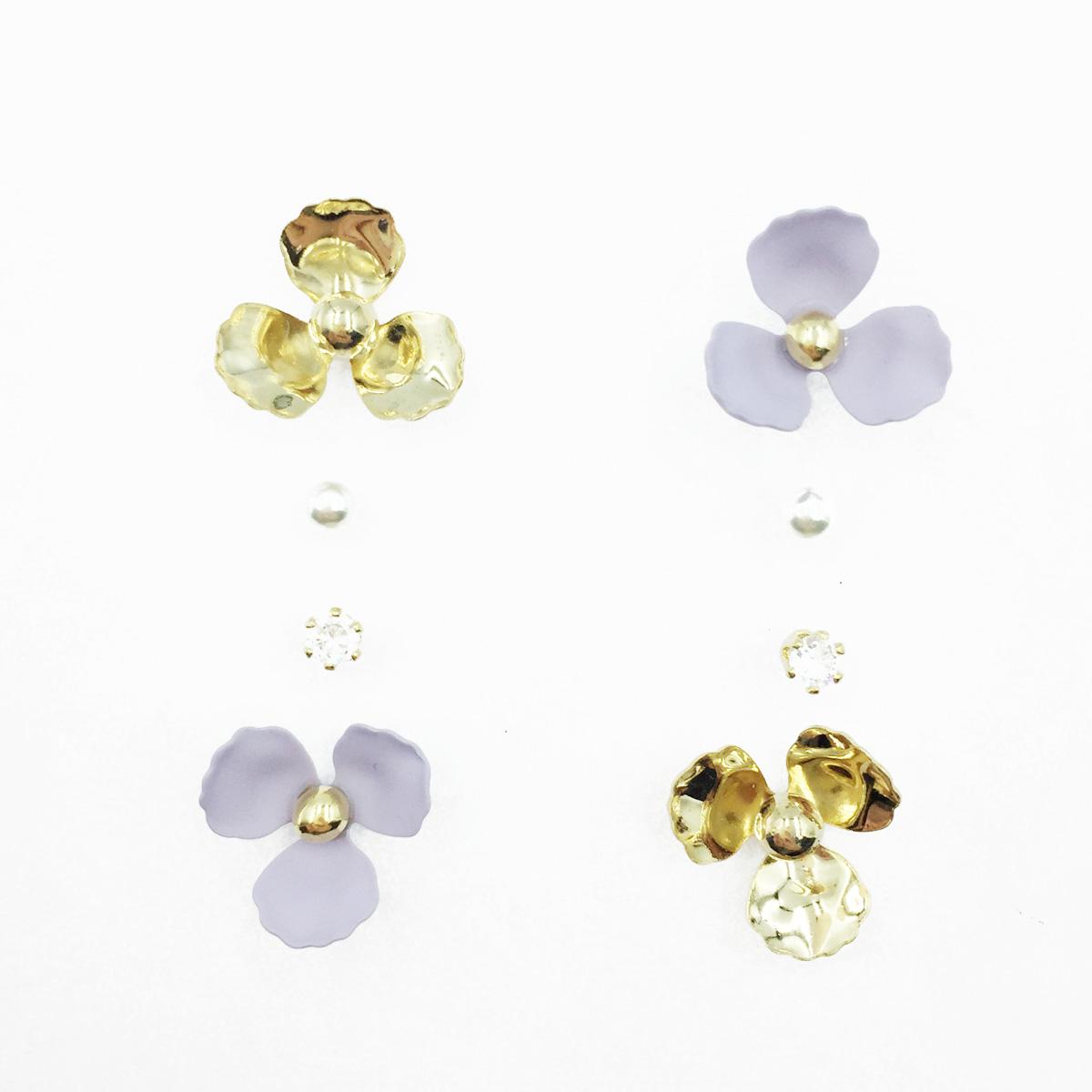 韓國 花朵 小金珠 珍珠 水鑽 多入組 耳針式耳環