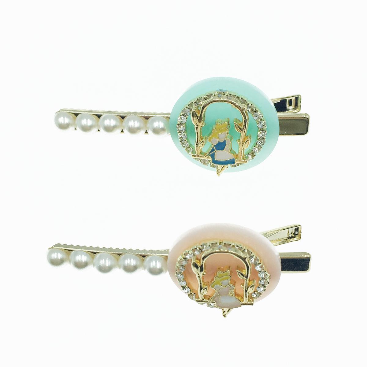 韓國 愛麗絲 珍珠 簍空圓水鑽 2色 髮飾 髮夾 壓夾
