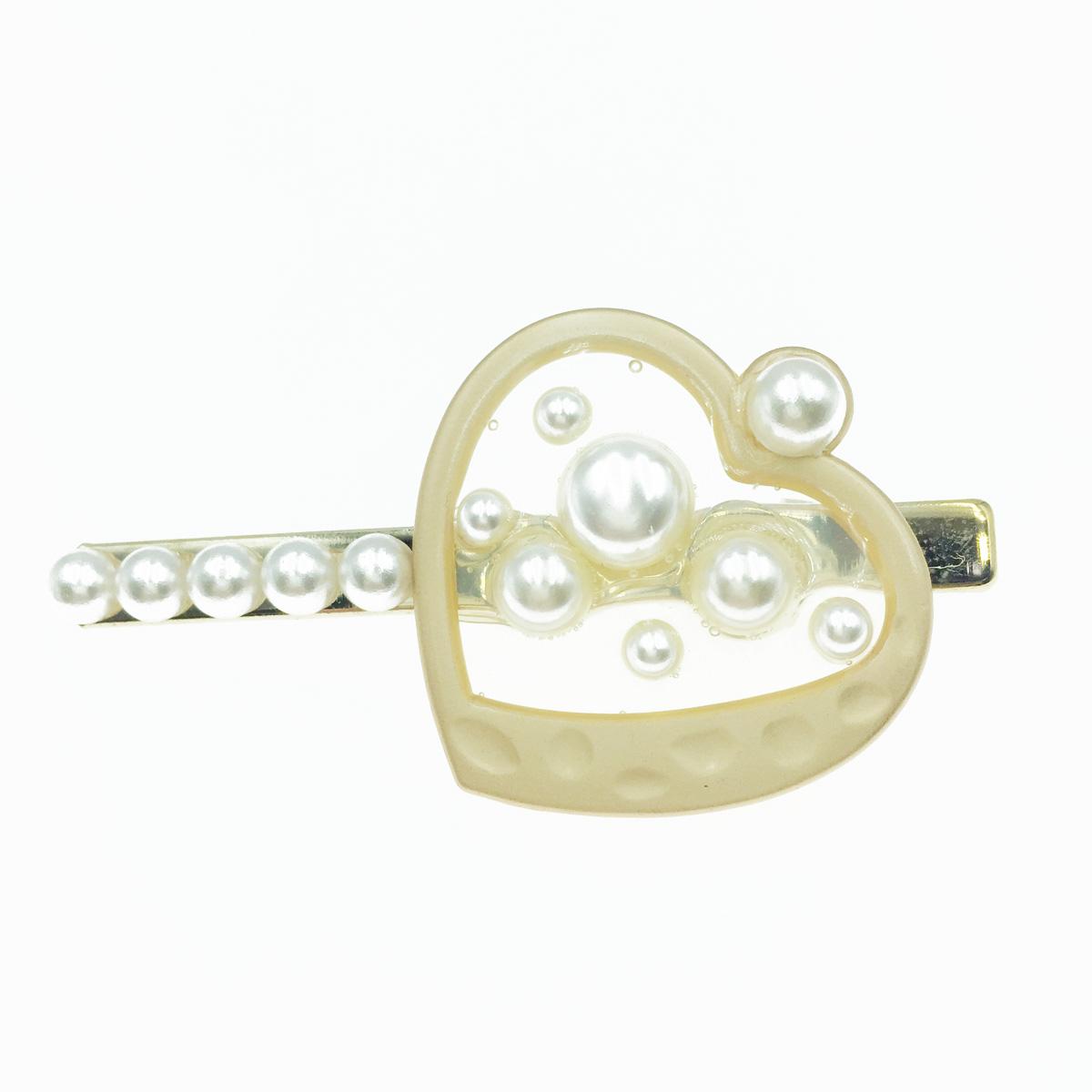 韓國 夾心珍珠 愛心 氣質甜美 髮飾 髮夾 壓夾