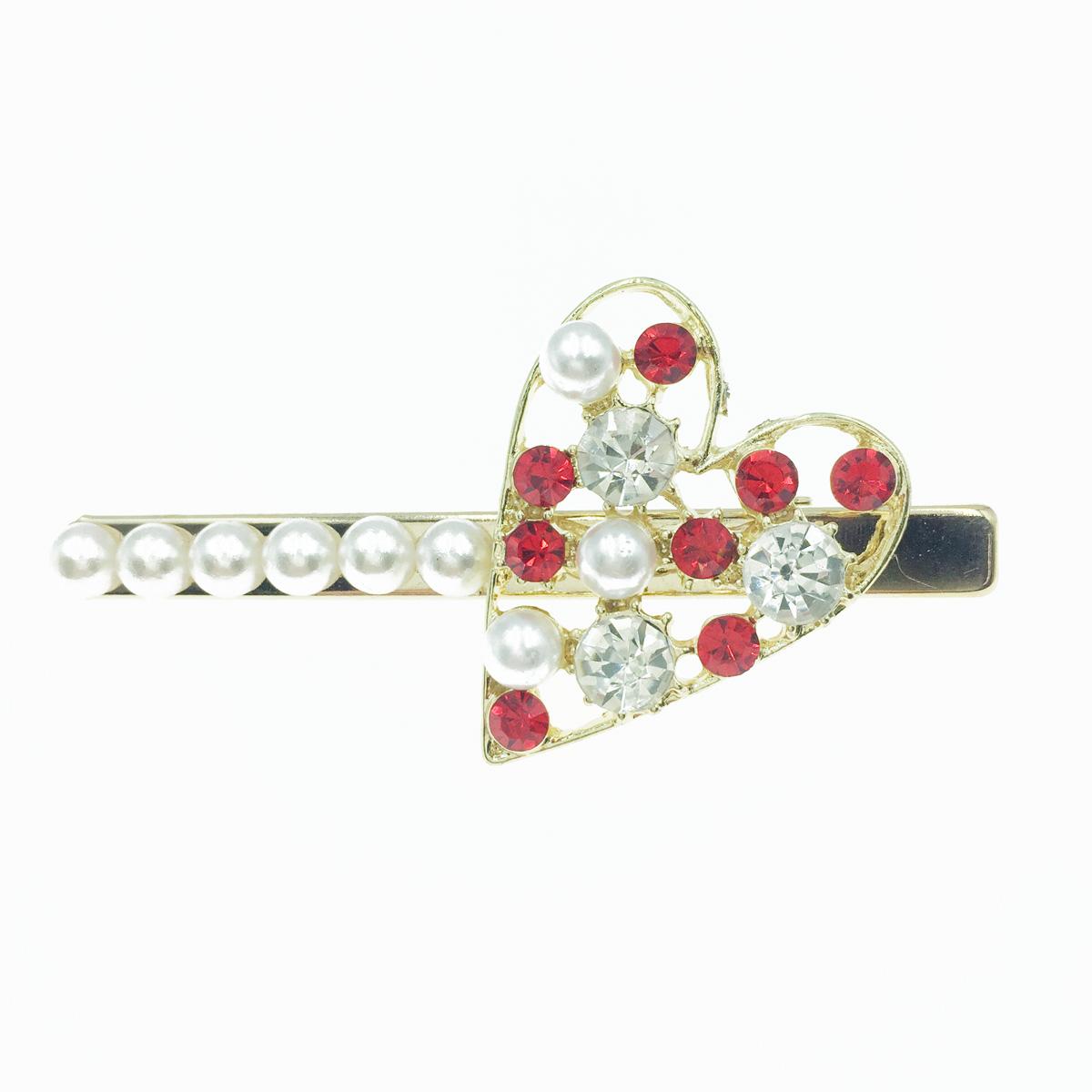 韓國 愛心 水鑽 圓鑽爪鑽 珍珠 髮飾 髮夾 壓夾