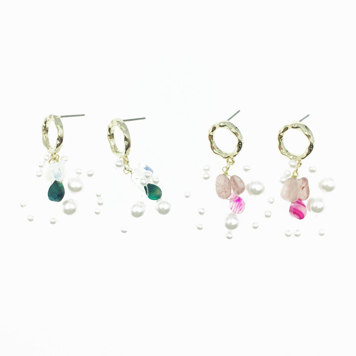 韓國 簍空圓 水晶 珍珠 2色 垂墜感 耳針式耳環