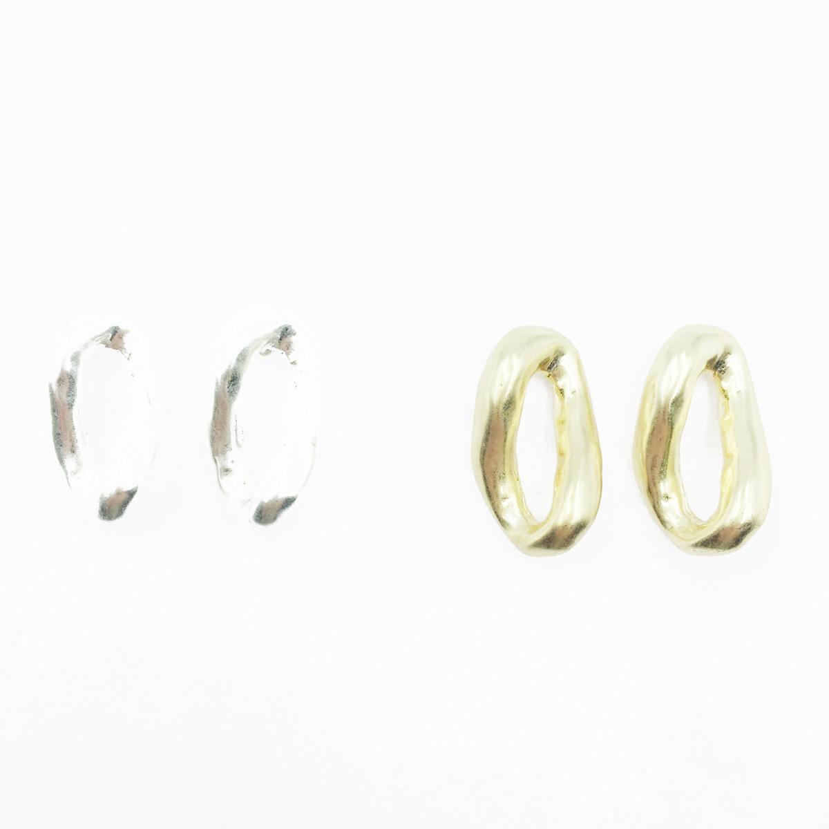韓國 不規則 簍空設計 歐美風 簡約金屬 2色 耳針式耳環