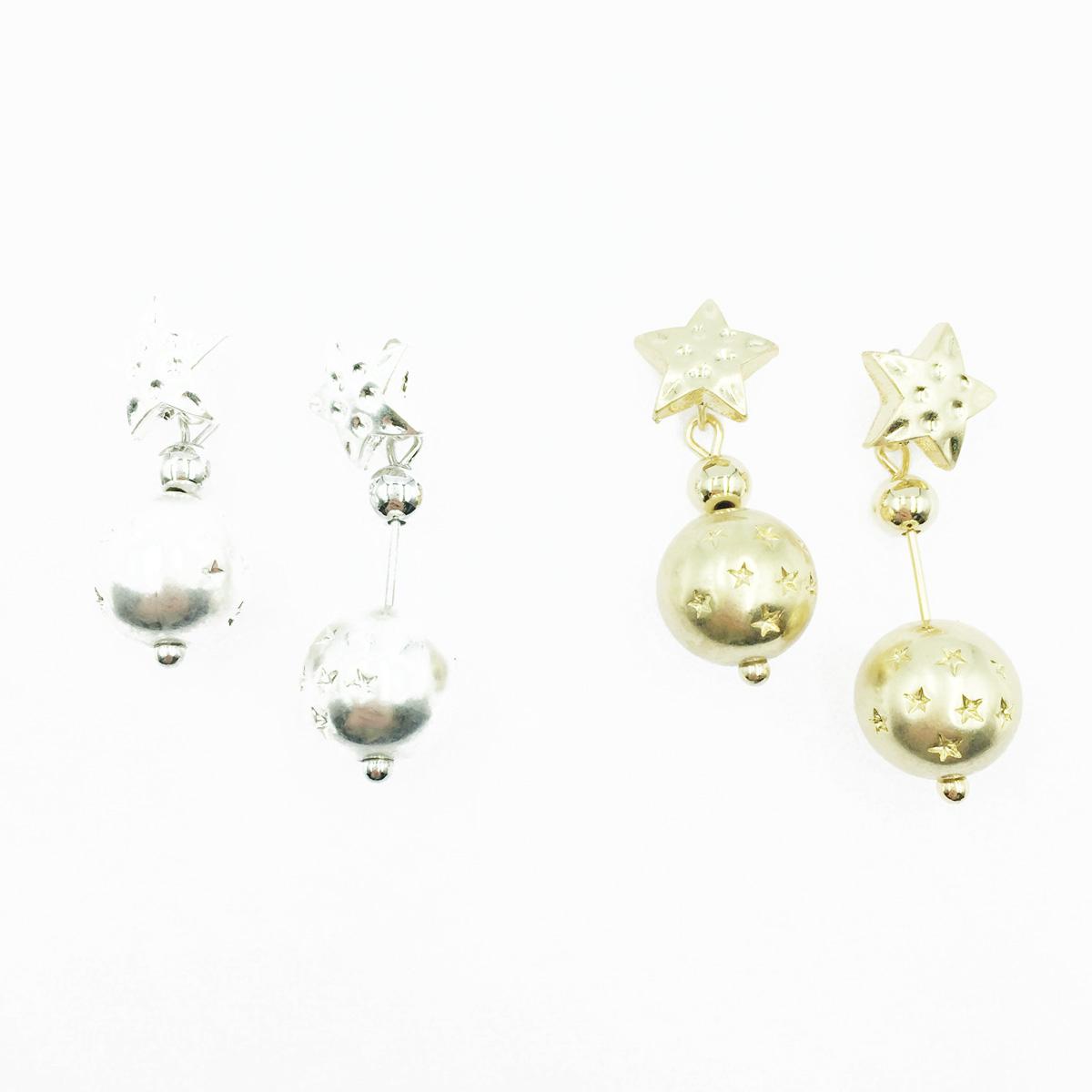 韓國 星星造型 凹凸面 立體球 2色 垂墜感 耳針式耳環