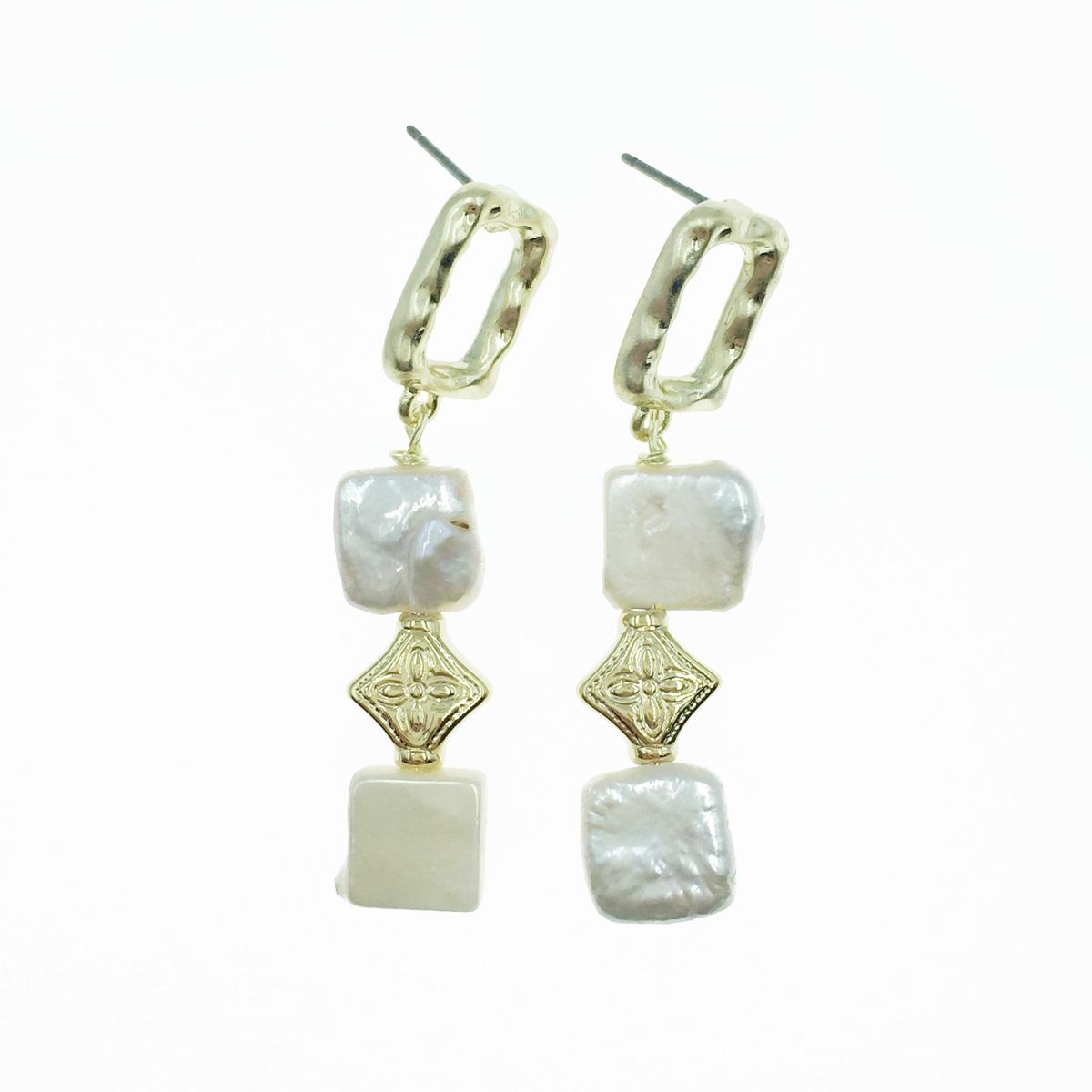 韓國 簍空長方形 寶石 垂墜感 耳針式耳環