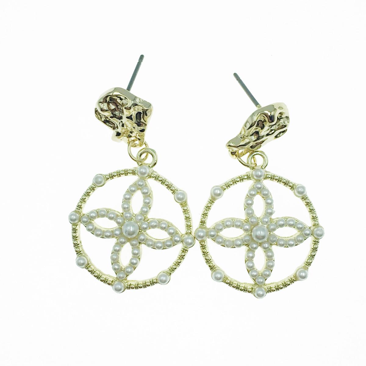 韓國 花 簍空圓圈 珍珠 金色 垂墜感 耳針式耳環