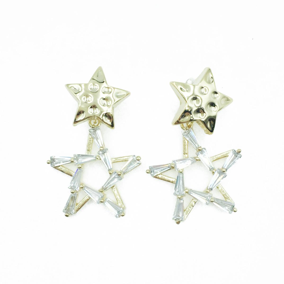 韓國 凹凸金屬星星 簍空水鑽星星 垂墜感 耳針式耳環