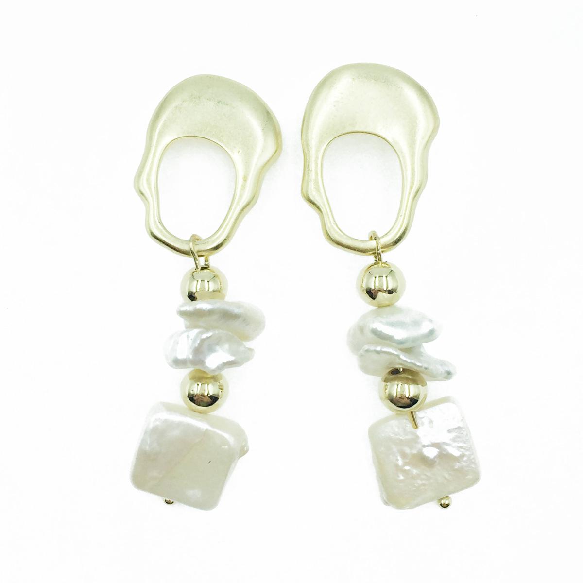 韓國 不規則簍空造型 寶石 金珠 垂墜感 耳針式耳環