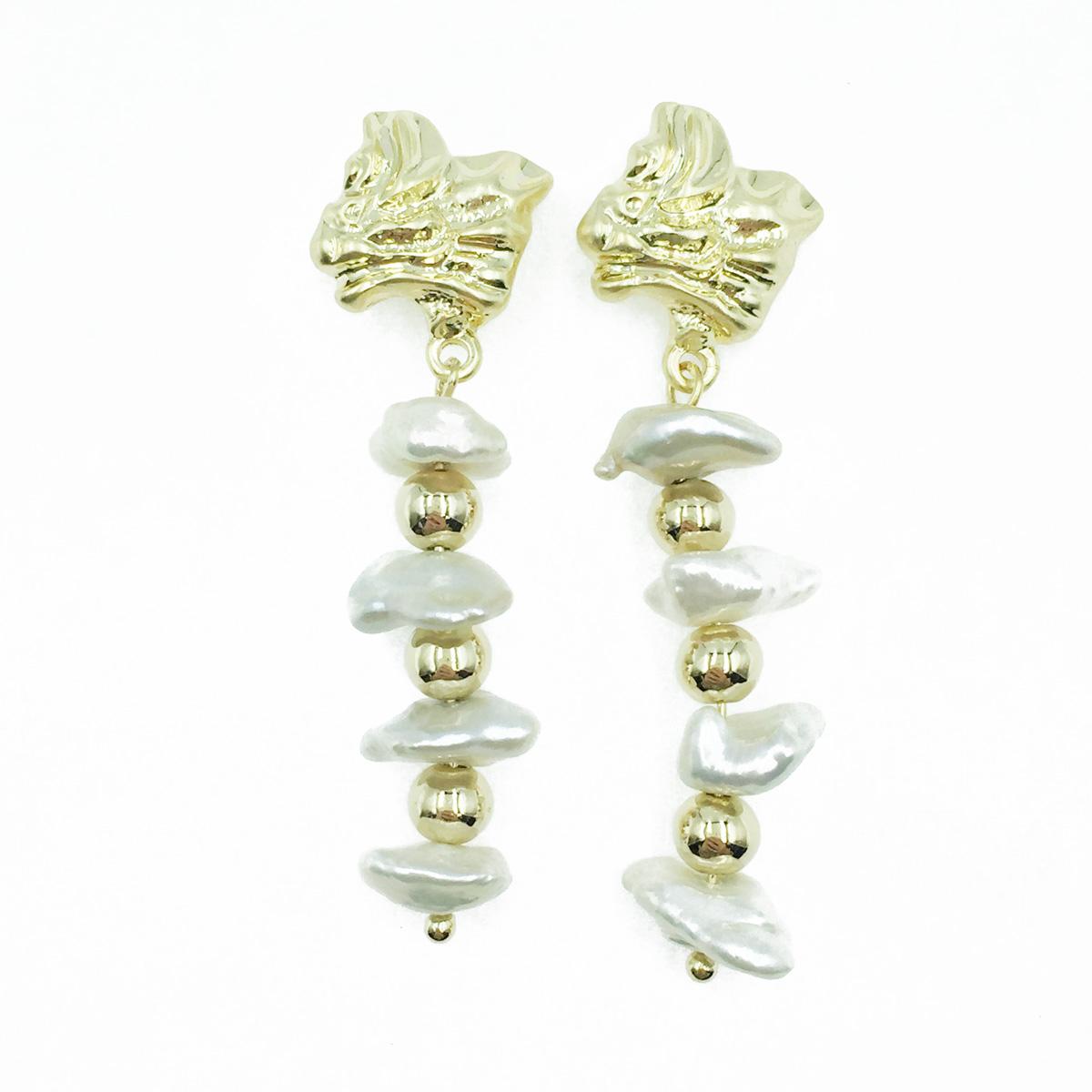 韓國 凹凸金屬面 金珠 寶石 垂墜感 耳針式耳環