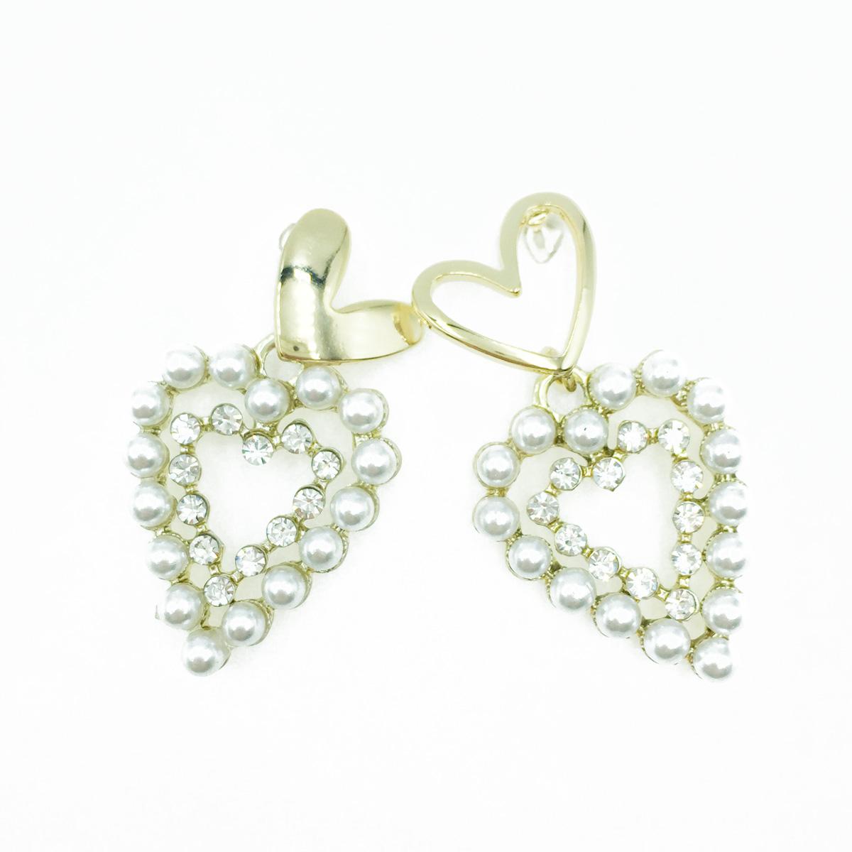 韓國 金愛心 簍空造型 水鑽 珍珠 甜美系 垂墜感 耳針式耳環