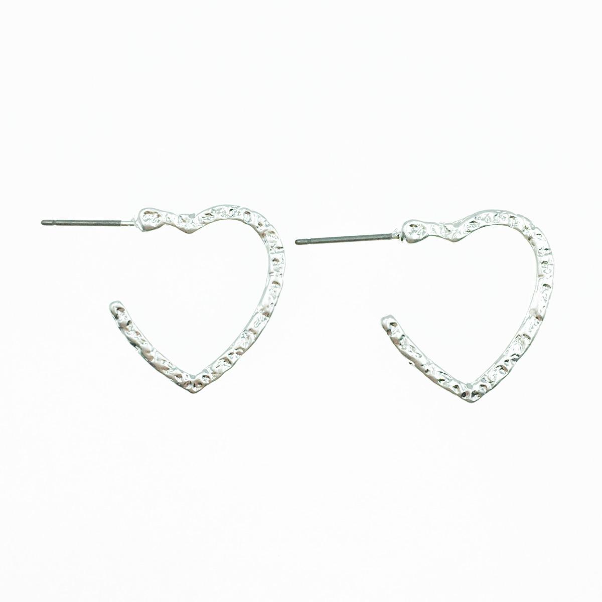 韓國 簍空開口愛心 金屬 甜美 耳針式耳環