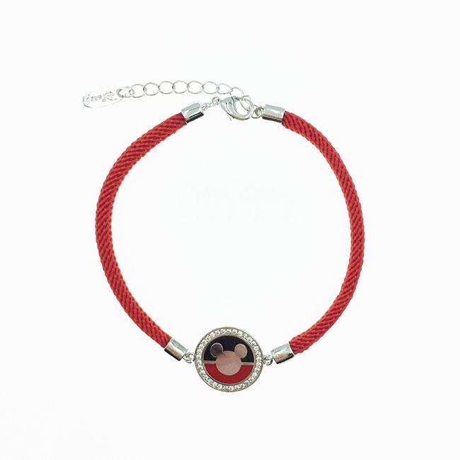韓國 迪士尼 米奇 水鑽圓牌 紅繩 手飾 手鍊