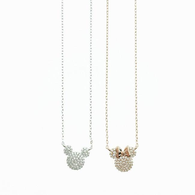 韓國 迪士尼 米奇 米妮 滿版水鑽 銀色 玫瑰金 項鍊