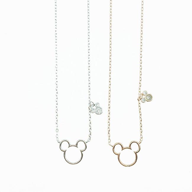 韓國 迪士尼 米奇 簍空造型 水鑽 簡約款 2色 項鍊