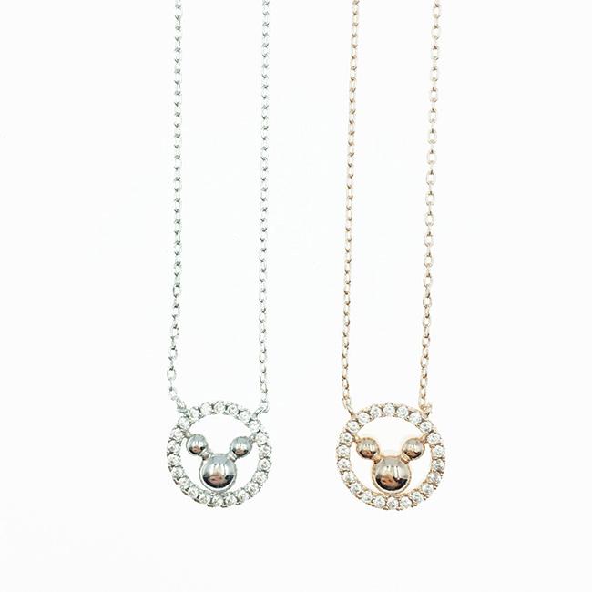 韓國 迪士尼 米奇 簍空圓水鑽 銀 玫瑰金 項鍊