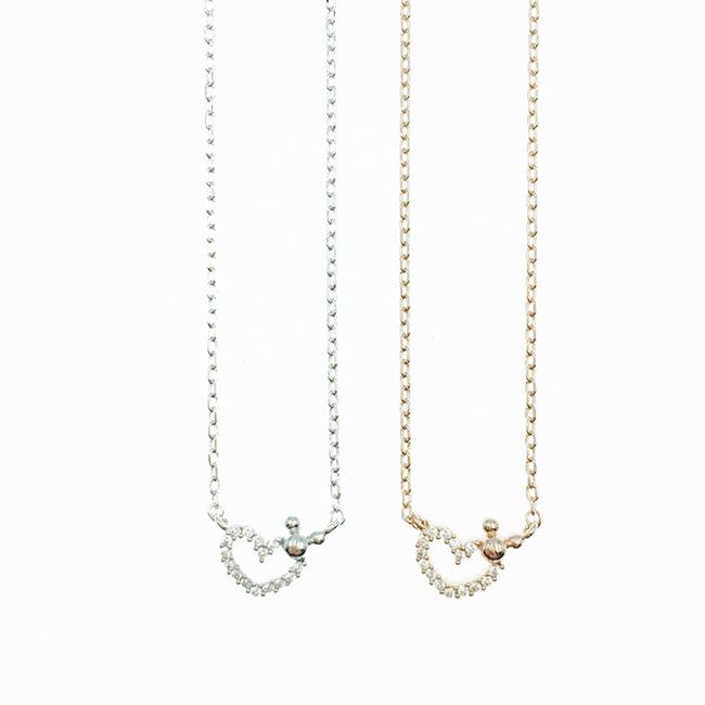 韓國 迪士尼 米奇 簍空愛心水鑽 銀 玫瑰金 項鍊