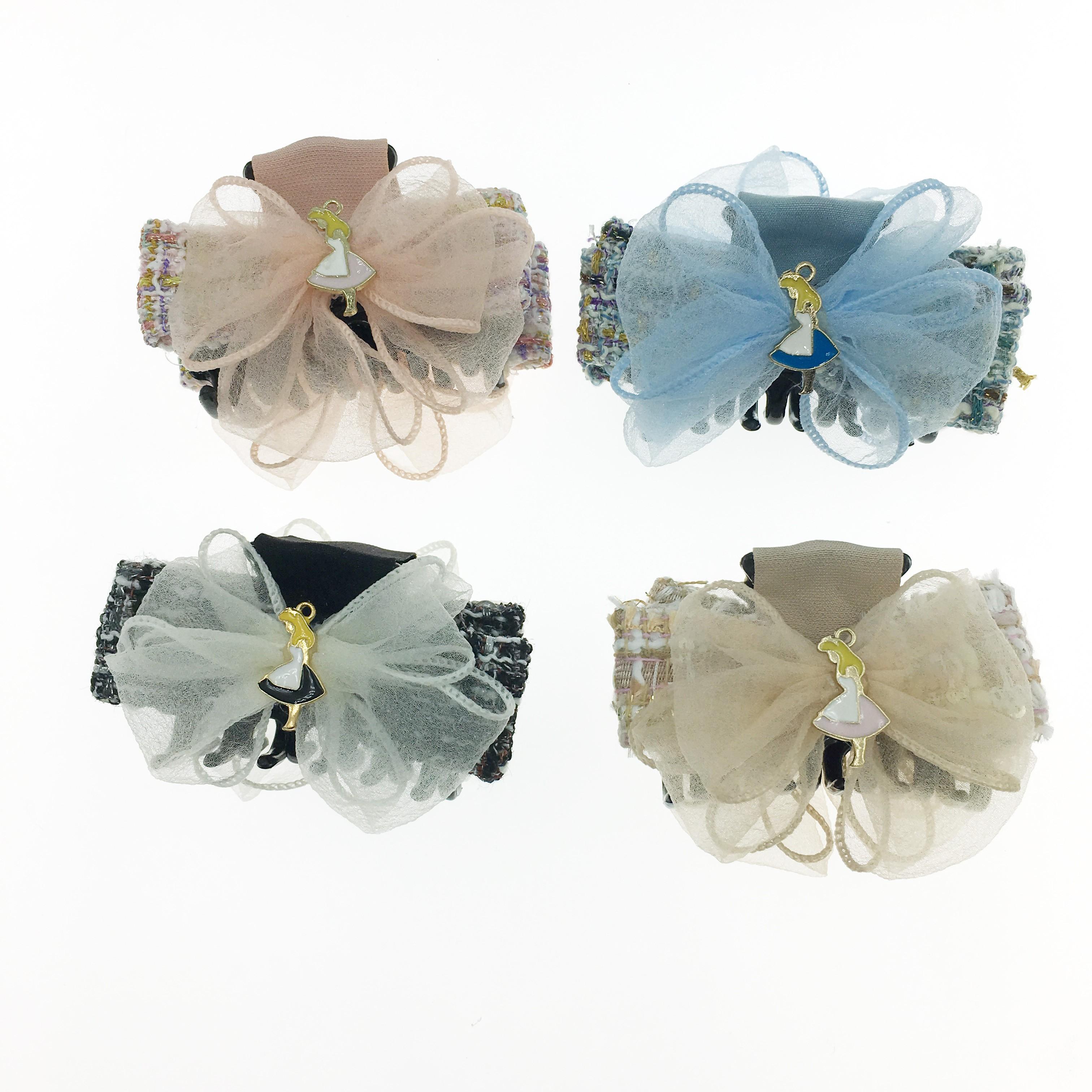 韓國 編織 蝴蝶結 愛麗絲 四色  髮飾 鯊魚夾
