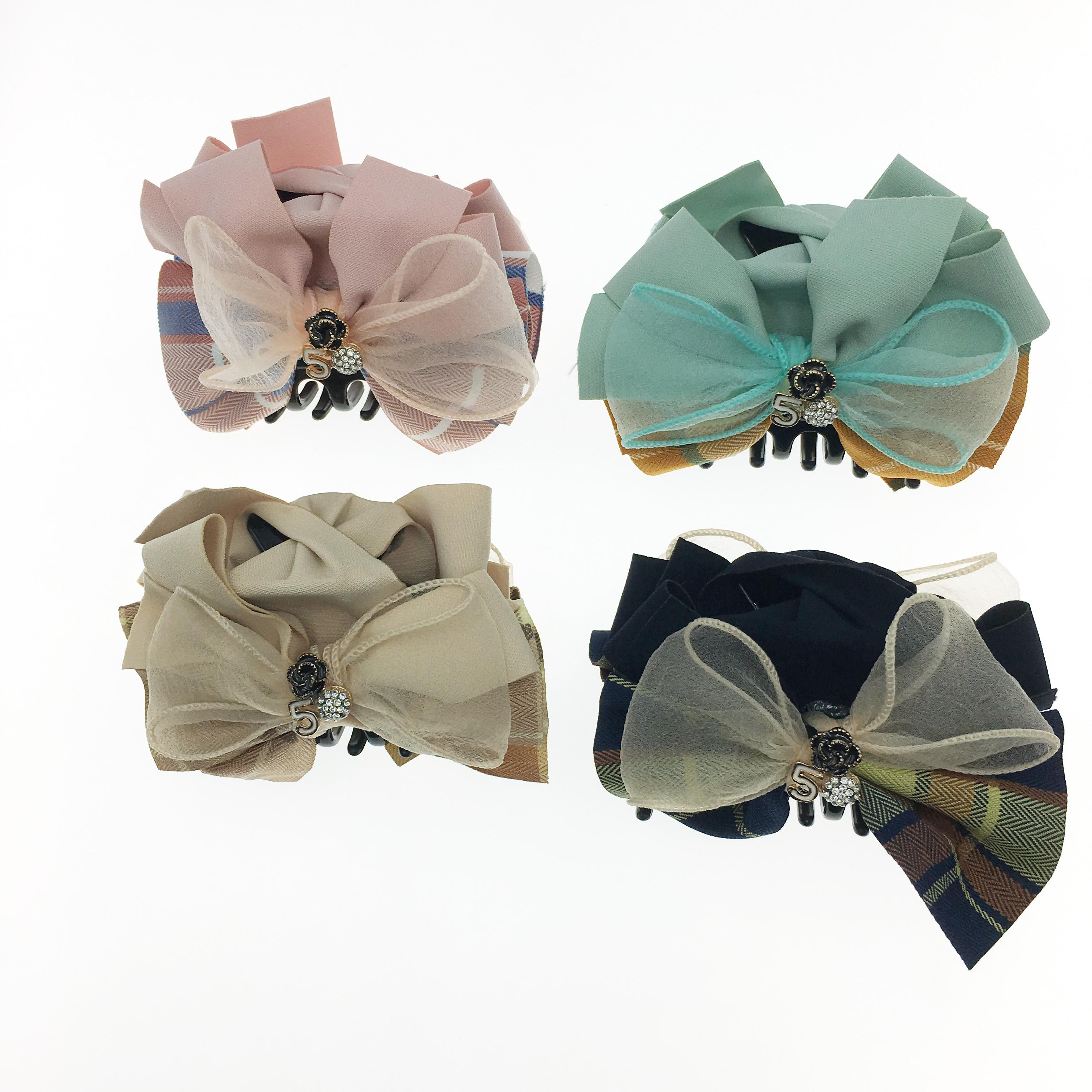 韓國 格紋 小香風 蝴蝶結 5花 水鑽 四色 鯊魚夾