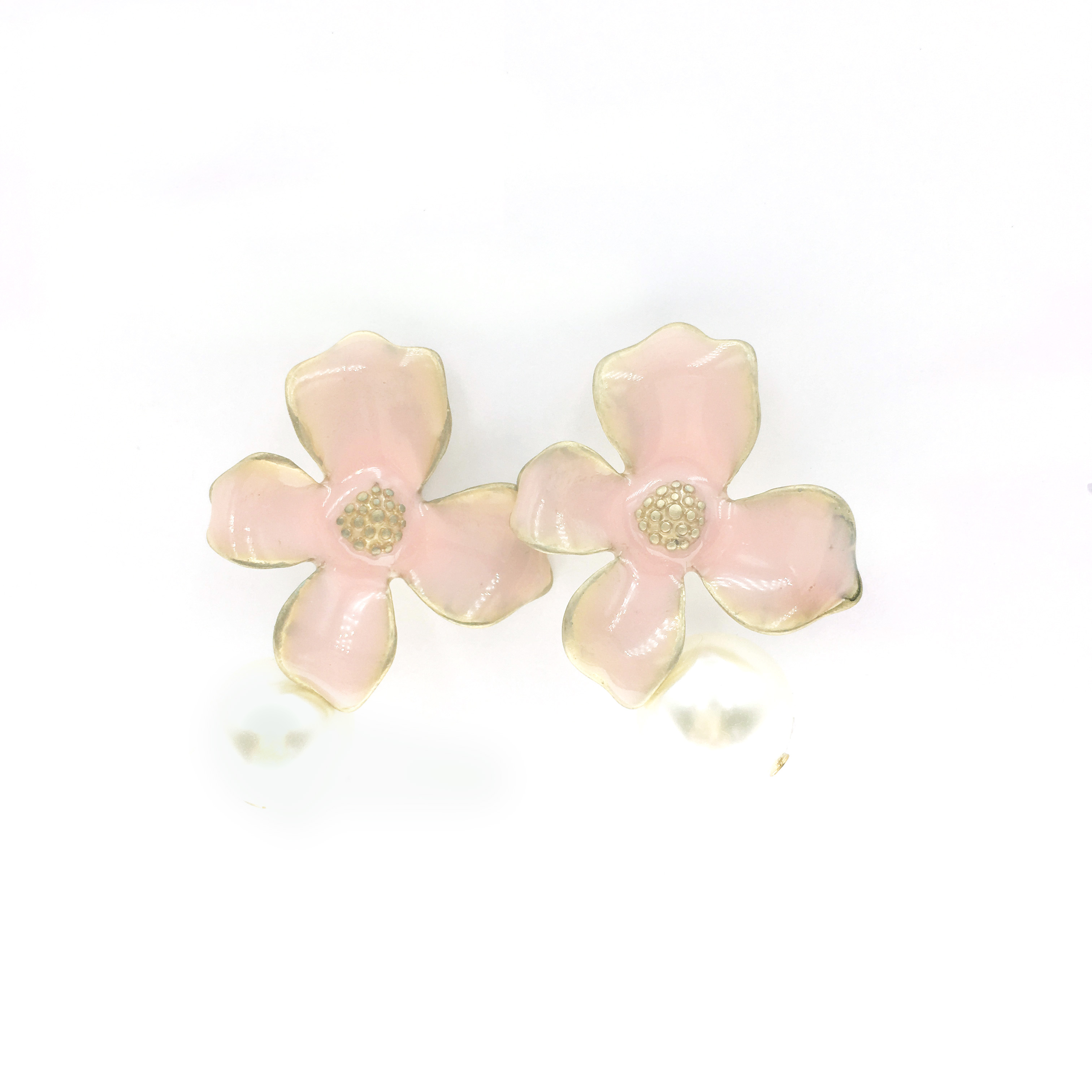 韓國 花朵 珍珠 浮誇 垂墜感 耳針式耳環