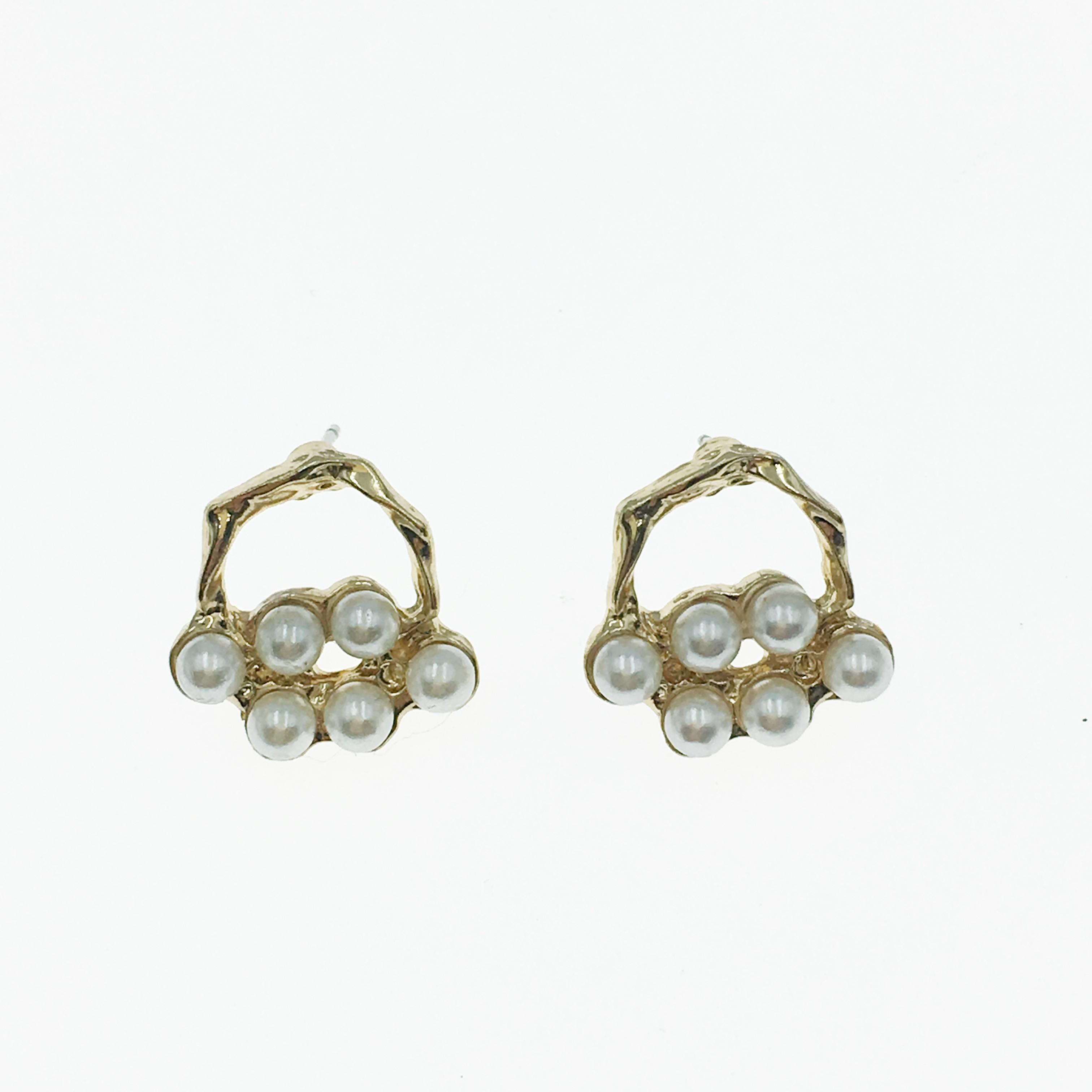 韓國 珍珠 圓環 金邊 耳針式耳環
