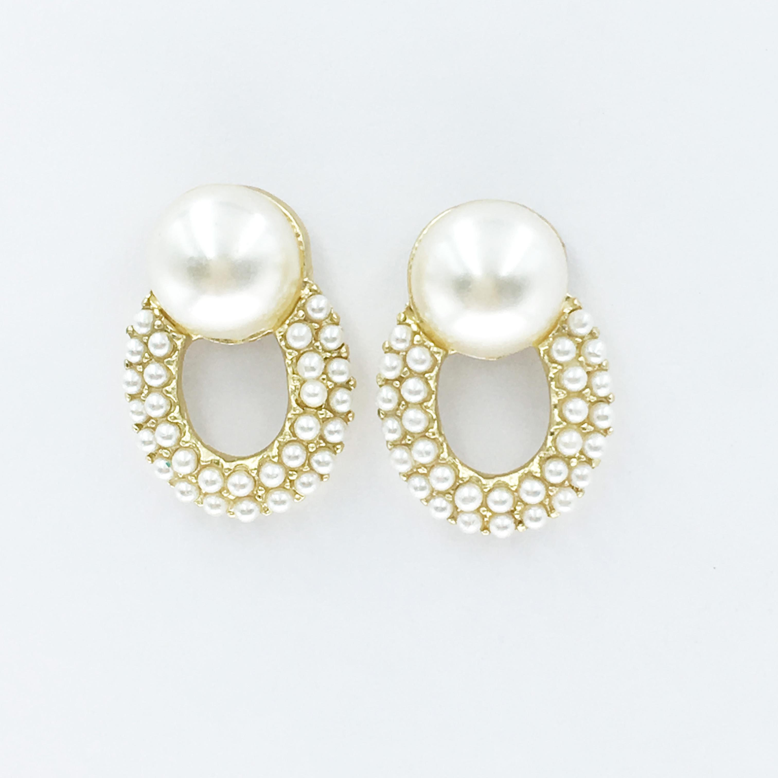 韓國 珍珠 金邊 圓弧 耳針式耳環
