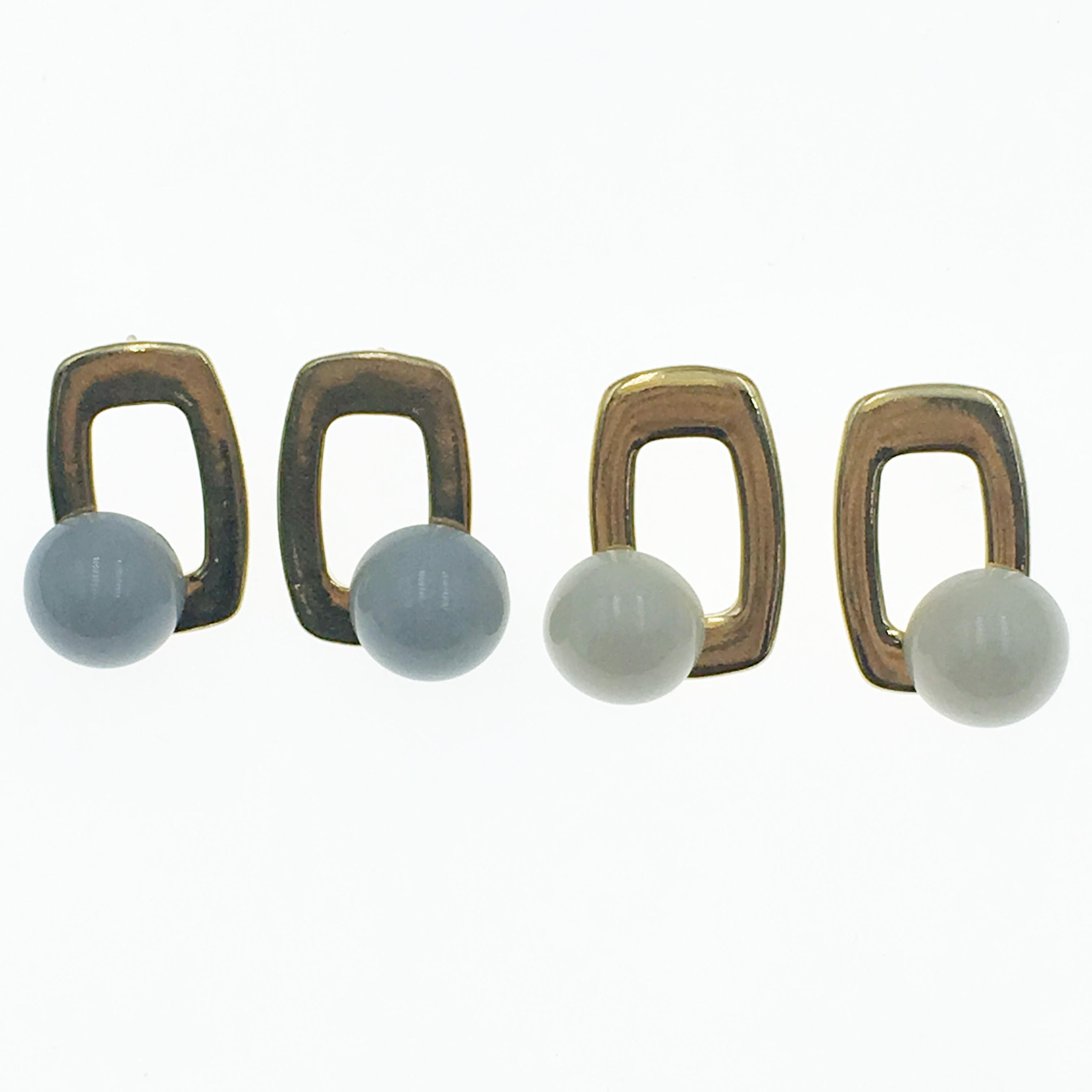 韓國 珍珠 金屬 金邊 簡單 兩色 耳針式耳環