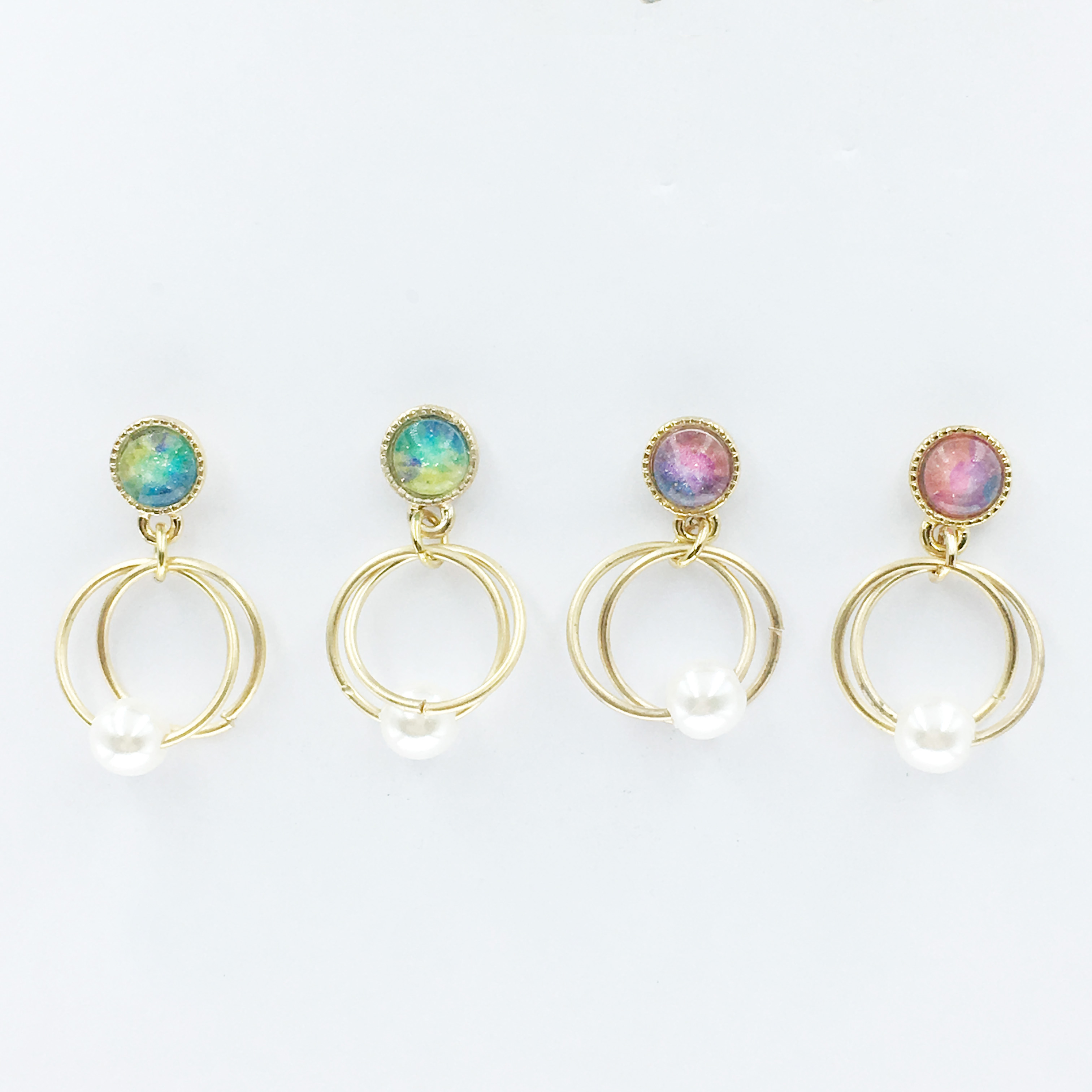 韓國 珍珠 星空 圓弧 兩色 垂墜感 耳針式耳環