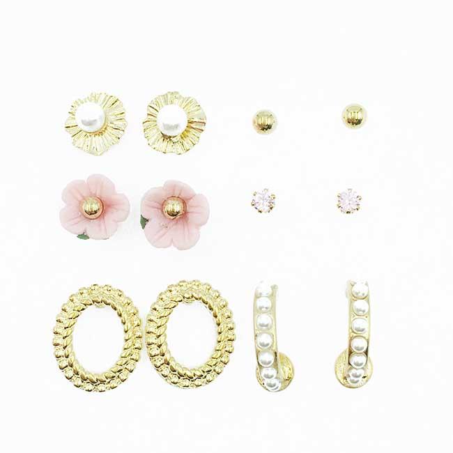 韓國 粉花 水鑽 金色金屬 珍珠 多入組 耳針式耳環