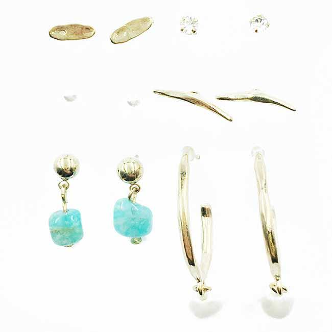 韓國 珍珠 水鑽 涼感寶石 垂墜感 多入組 耳針式耳環