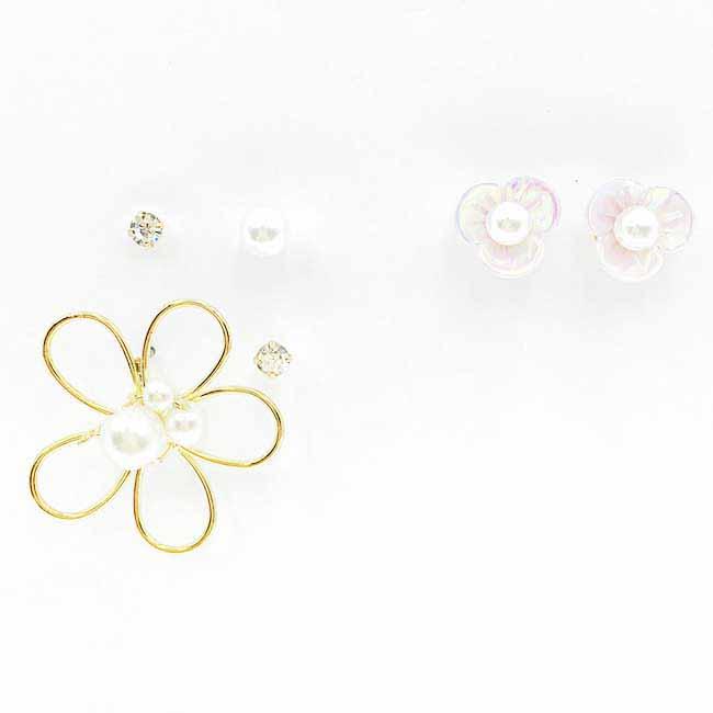 韓國 氣質珍珠 水鑽 花 6入組 耳針式耳環