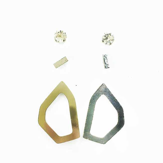韓國 水鑽 簡約 歐美金屬風 簡約款 6入組 耳針式耳環