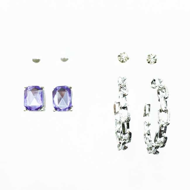 韓國 紫水鑽 單鑽 珍珠 簍空C環圈 多入組 耳針式耳環