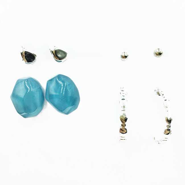 韓國 不規則金屬 C環圈 涼感寶石 多入組 耳針式耳環