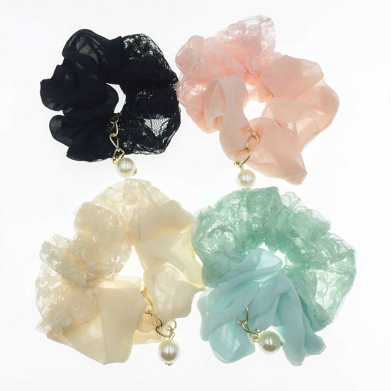 韓國 裸空 珍珠 大腸圈 髮飾 髮圈