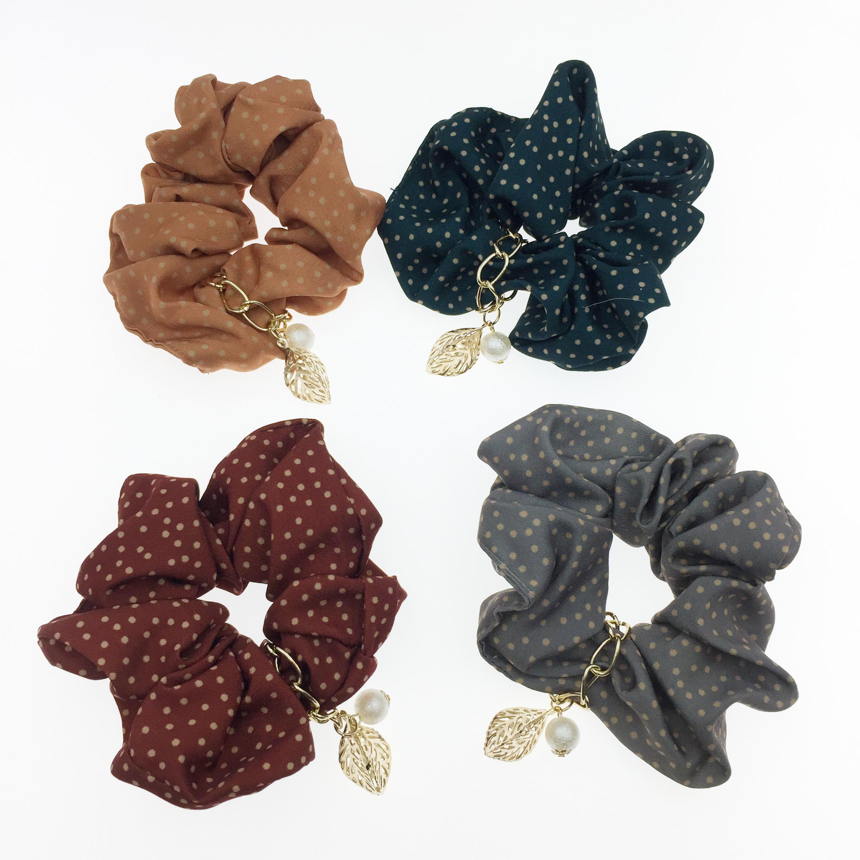 韓國 點點 珍珠 立體葉子 四色 大腸圈 髮飾 髮圈