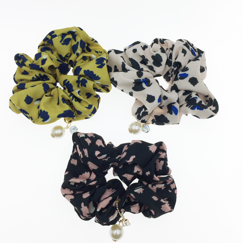 韓國 花紋 水鑽 珍珠 大腸圈