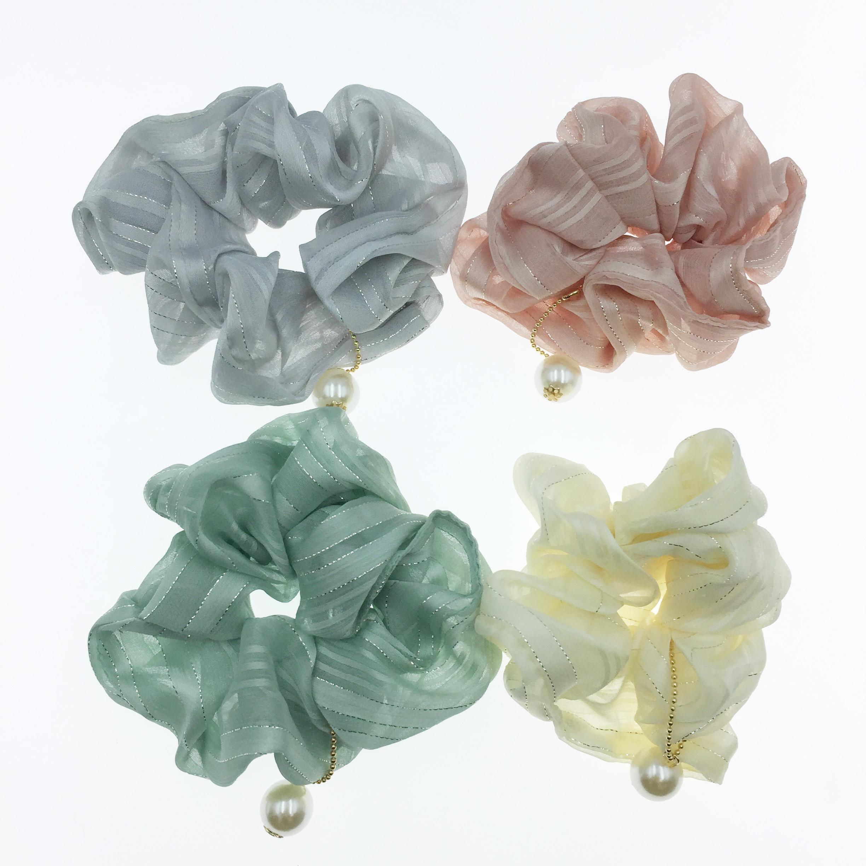 韓國 亮邊 珍珠 簡單  四色 大腸圈
