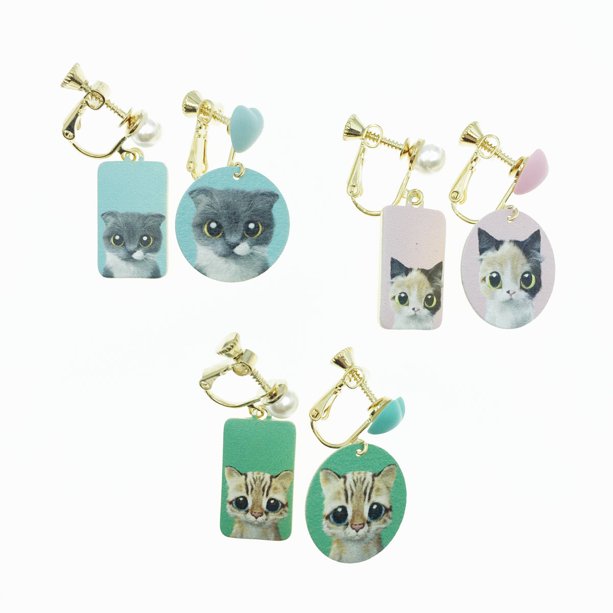 韓國 不對稱 貓咪 愛心 珍珠 3色 垂墜感 夾式耳環