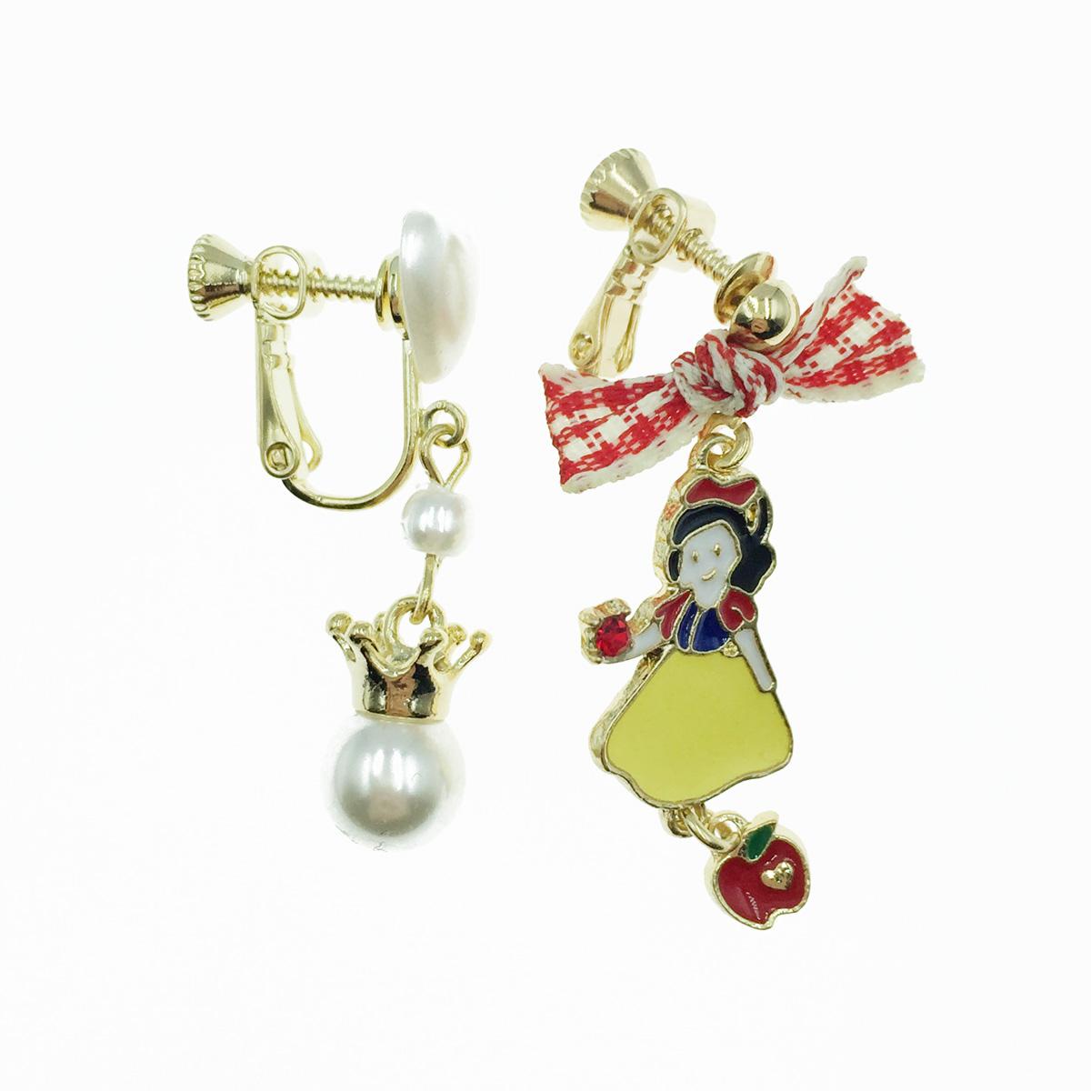 韓國 白雪公主 蝴蝶結 珍珠愛心 垂墜感 夾式耳環