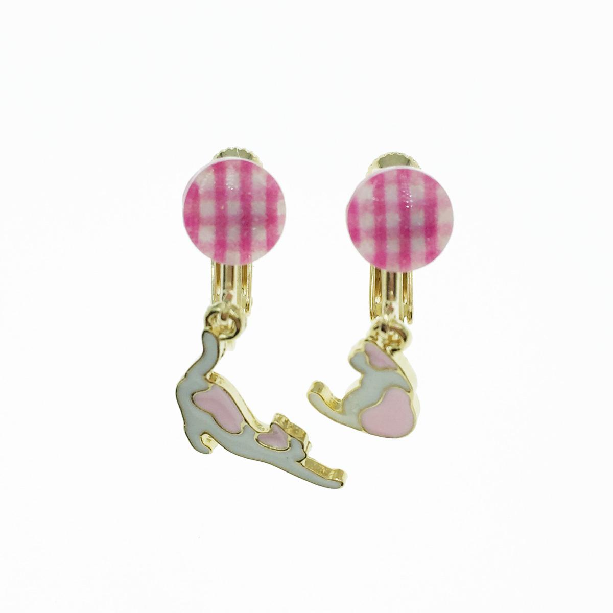 韓國 不對稱 貓咪 療癒 粉色 垂墜感 夾式耳環