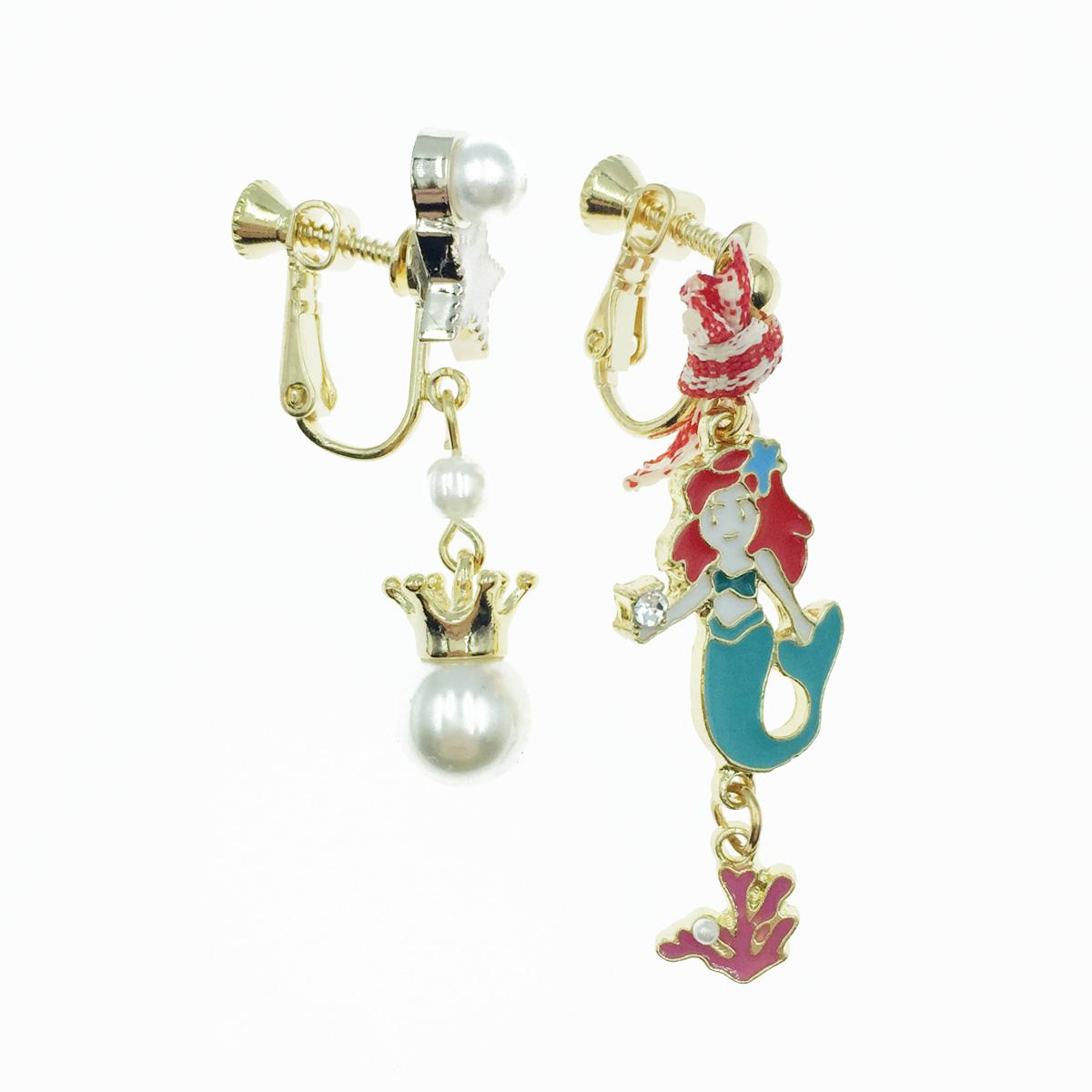 韓國 不對稱 美人魚 星星 珍珠 蝴蝶結 垂墜感 夾式耳環