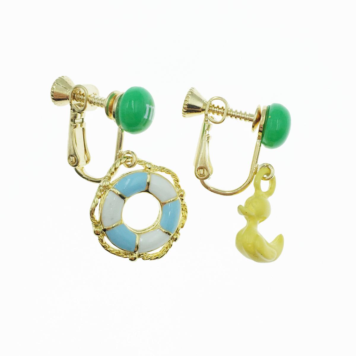 韓國 mm巧克力 黃色小鴨 游泳圈 垂墜感 夾式耳環