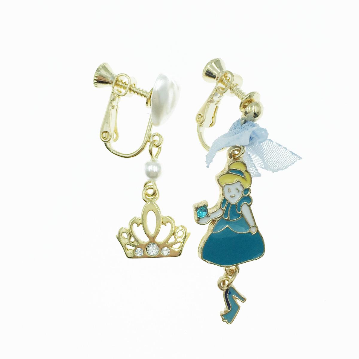 韓國 水鑽皇冠 珍珠愛心 蝴蝶結 公主 垂墜感 夾式耳環