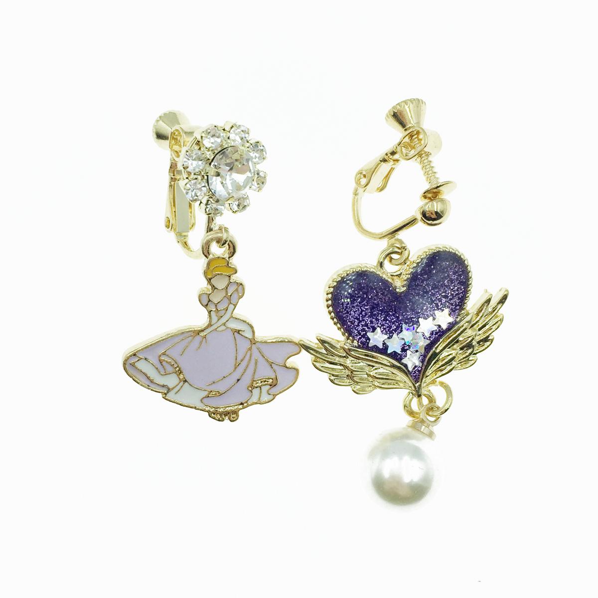 韓國 不對稱 公主 翅膀愛心 水鑽 珍珠 垂墜感 夾式耳環