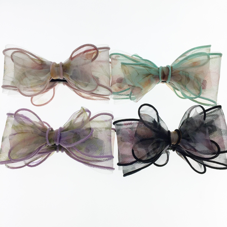 韓國 蕾絲 蝴蝶結 花 四色 相交夾 髮飾